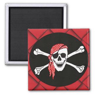 Cráneo y bandera de pirata cruzada de los huesos imanes para frigoríficos