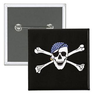 Cráneo y bandera de pirata cruzada de los huesos pin cuadrado
