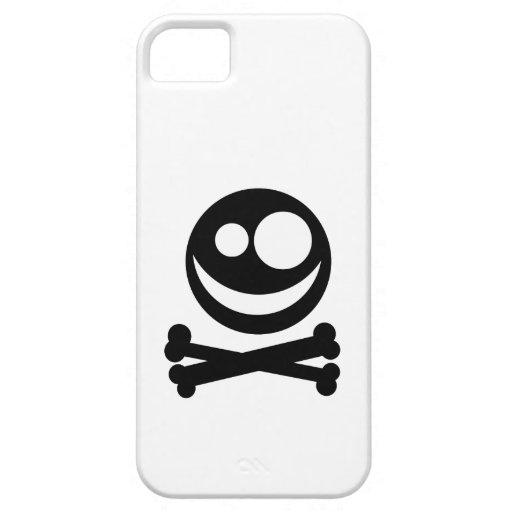Cráneo y bandera pirata. Blanco y negro. iPhone 5 Coberturas
