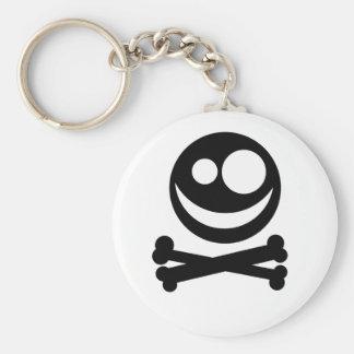 Cráneo y bandera pirata. Blanco y negro. Llavero Redondo Tipo Pin