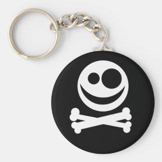Cráneo y bandera pirata. Blanco y negro Llavero Redondo Tipo Pin
