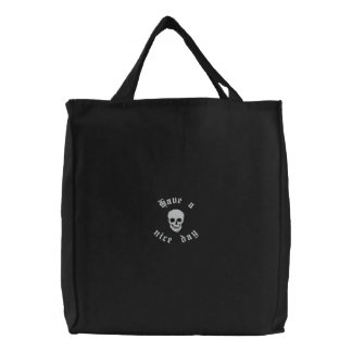Cráneo y bandera pirata bolsa de mano bordada