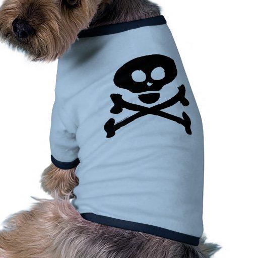 Cráneo y bandera pirata camiseta con mangas para perro