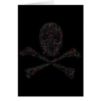 Cráneo y bandera pirata - color del rompecabezas tarjeta de felicitación