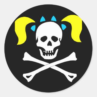 Cráneo y bandera pirata con las coletas etiquetas