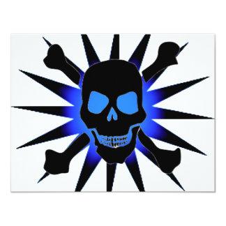 Cráneo y bandera pirata con Starburst Invitación 10,8 X 13,9 Cm