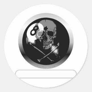 Cráneo y bandera pirata de 8 bolas pegatinas redondas
