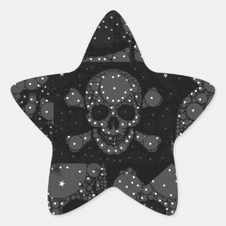 Cráneo y bandera pirata de Bling Pegatina En Forma De Estrella