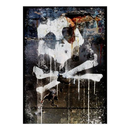 Cráneo y bandera pirata de la barricada poster