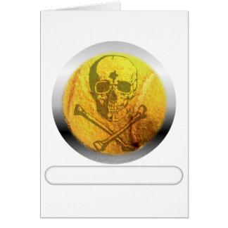 Cráneo y bandera pirata de la pelota de tenis tarjeta de felicitación