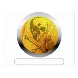 Cráneo y bandera pirata de la pelota de tenis tarjeta postal