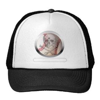Cráneo y bandera pirata del béisbol gorro de camionero