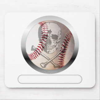 Cráneo y bandera pirata del béisbol mousepad