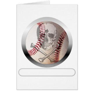 Cráneo y bandera pirata del béisbol tarjeta de felicitación
