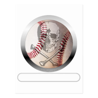 Cráneo y bandera pirata del béisbol postal