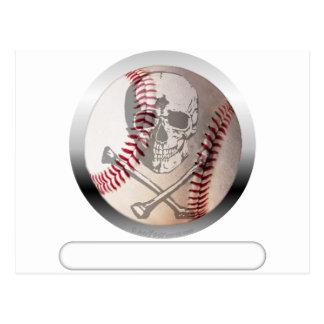 Cráneo y bandera pirata del béisbol tarjeta postal