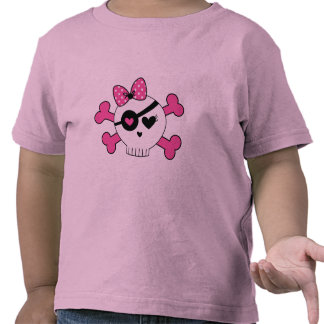 Cráneo y bandera pirata del chica camisetas