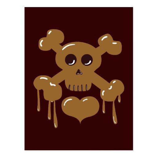 Cráneo y bandera pirata del chocolate postal