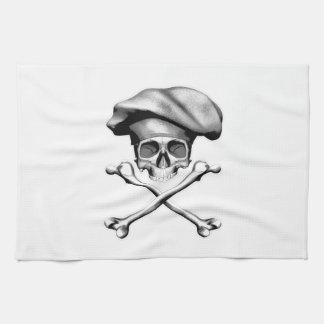 Cráneo y bandera pirata del cocinero toallas de cocina