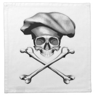 Cráneo y bandera pirata del cocinero servilletas imprimidas