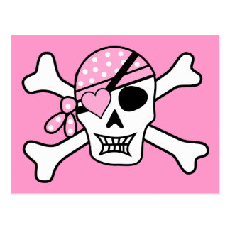 cráneo y bandera pirata del cráneo del pirata postal