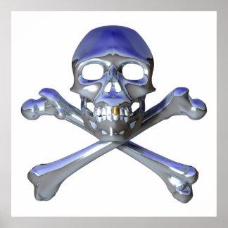 Cráneo y bandera pirata del cromo póster