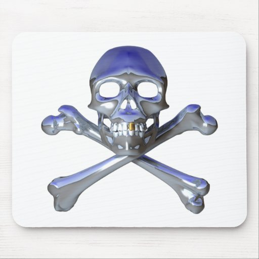 Cráneo y bandera pirata del cromo alfombrilla de raton