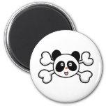 cráneo y bandera pirata del oso de panda imán de nevera