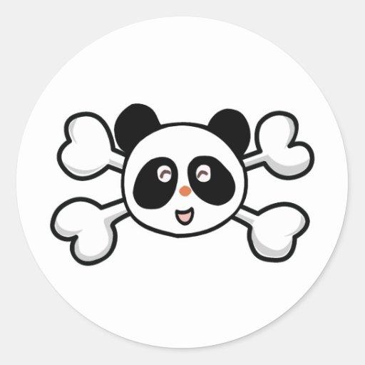 cráneo y bandera pirata del oso de panda pegatina redonda