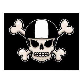 Cráneo y bandera pirata del patinador postal