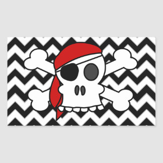 Cráneo y bandera pirata del pirata en el modelo de pegatina rectangular
