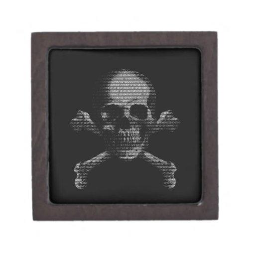 Cráneo y bandera pirata del pirata informático cajas de recuerdo de calidad