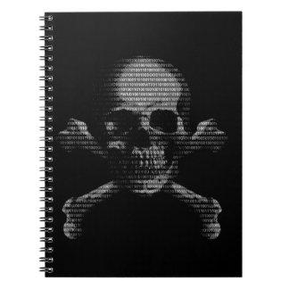 Cráneo y bandera pirata del pirata informático libro de apuntes