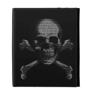 Cráneo y bandera pirata del pirata informático