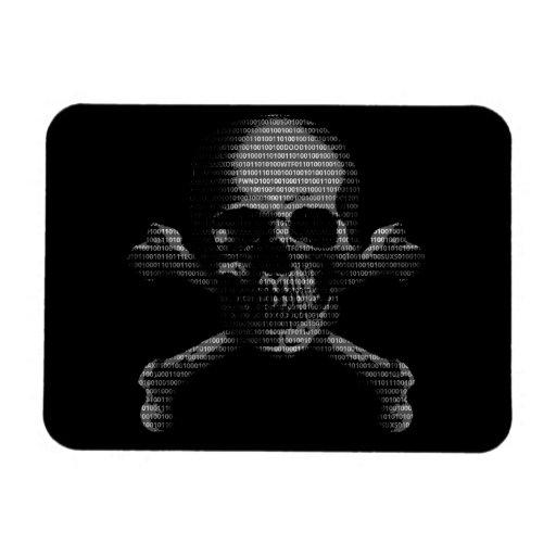 Cráneo y bandera pirata del pirata informático imanes de vinilo