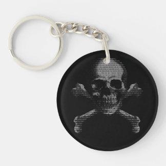 Cráneo y bandera pirata del pirata informático llavero