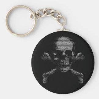 Cráneo y bandera pirata del pirata informático llaveros
