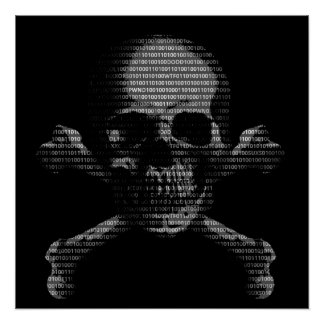 Cráneo y bandera pirata del pirata informático posters