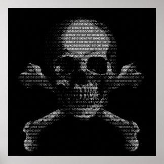 Cráneo y bandera pirata del pirata informático póster