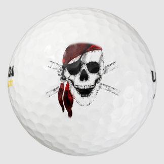 Cráneo y bandera pirata del pirata pack de pelotas de golf