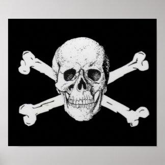 Cráneo y bandera pirata del pirata póster