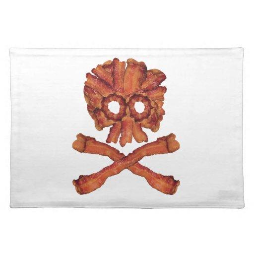 Cráneo y bandera pirata del tocino manteles