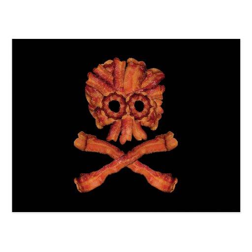 Cráneo y bandera pirata del tocino postales
