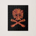Cráneo y bandera pirata del tocino rompecabezas con fotos