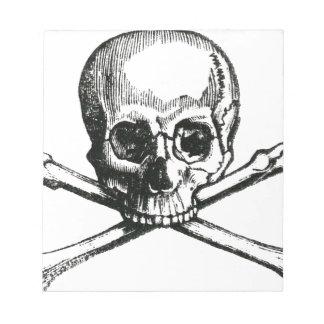 Cráneo y bandera pirata del vintage bloc