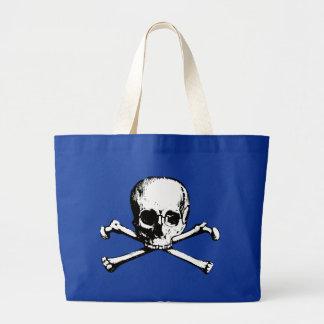 Cráneo y bandera pirata del vintage bolsa de tela grande