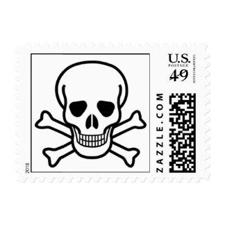 Cráneo y bandera pirata estampilla