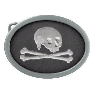 cráneo y bandera pirata hebillas de cinturón ovales