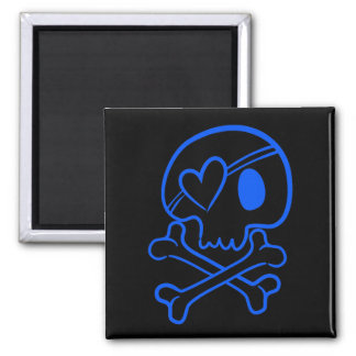 Cráneo y bandera pirata imán cuadrado