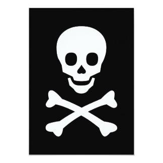 Cráneo y bandera pirata invitación 12,7 x 17,8 cm